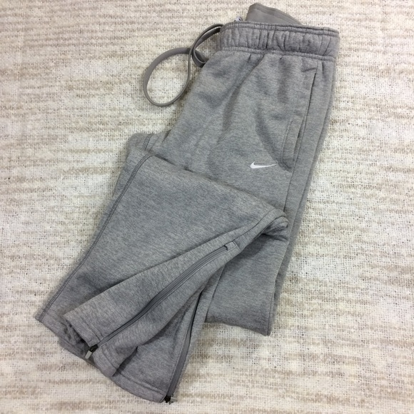 shop for cheap yet not vulgar Nike Therma Fleece Gray Sweatpants Ankle Zippers